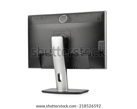 Computer monitor rear view isolated on white background - stock photo