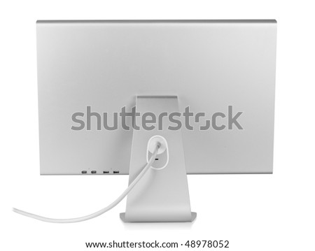 Computer Monitor. Rear view, isolated on white background - stock photo