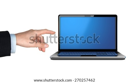 Computer Monitor, Showing, Human Hand. - stock photo