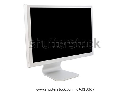 Computer monitor with a black image isolated on white background