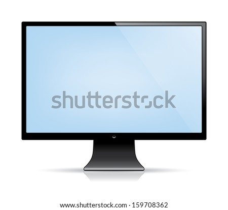computer monitor with a blank blue screen. isolated on white.(rasterized version)