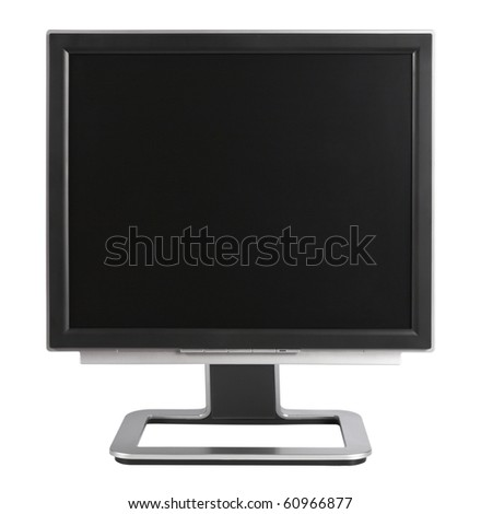 Computer Monitor with blank black screen,isolated on white with clipping path. - stock photo