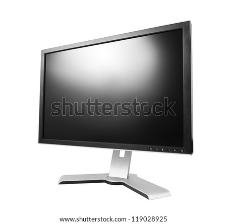 Computer monitor with blank screen. Isolated on white background with clipping path.
