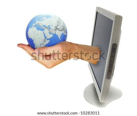 computer monitor with hand isolated on white - stock photo