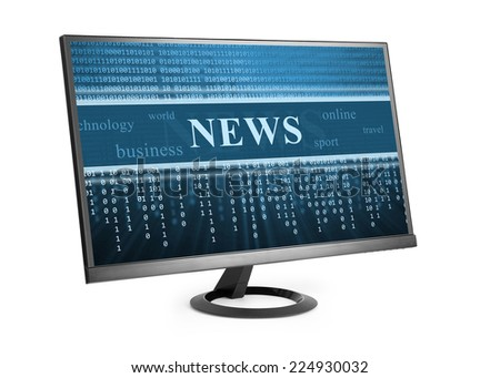 Computer monitor with News on his screen - stock photo