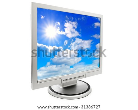 computer monitor with sky wallpaper over a white background