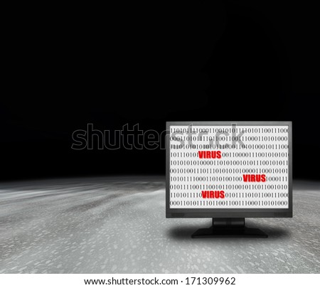 computer monitor with virus screen in abstract enviroment - stock photo