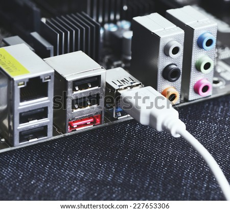 computer motherboard, audio input output - stock photo
