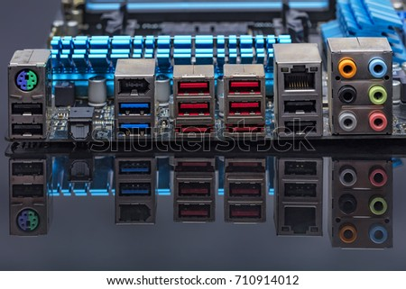 Computer Motherboard background with power connector socket