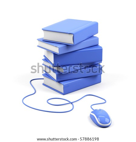 Computer mouse and books - e-learning concept. 3d image. - stock photo