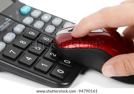 Computer mouse and calculator with hand