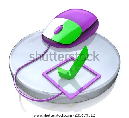 Computer mouse and check mark  - stock photo