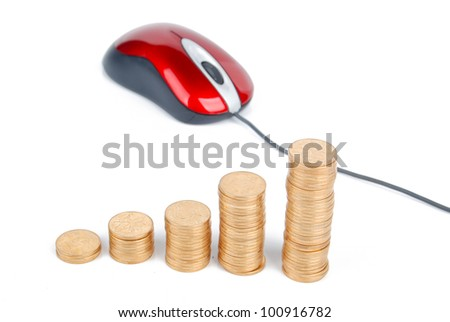 Computer mouse and coin - stock photo