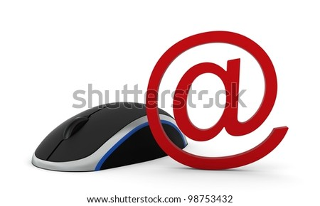 computer mouse and e-mail sign. 3d render.isolated on a white background