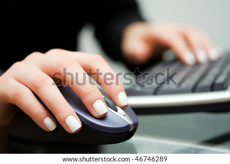 Computer mouse and keyboard. - stock photo