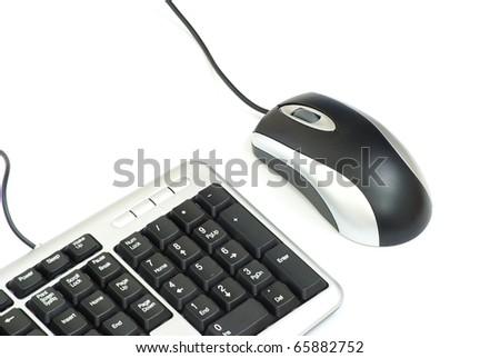 Computer mouse and keyboard isolated on white - stock photo