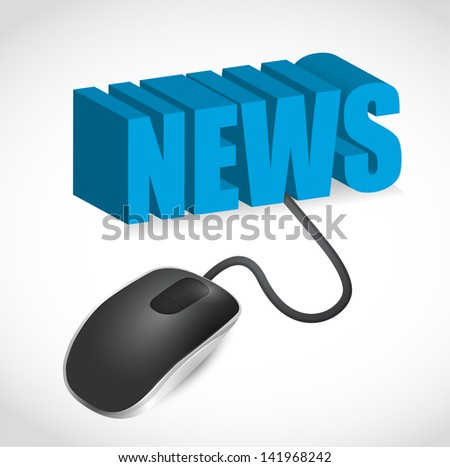 Computer mouse and news word illustration design over white