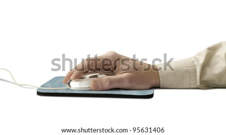 computer mouse and pad with hand over white (clipping path)