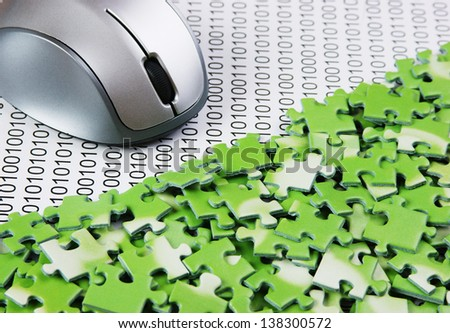 computer mouse and  puzzles on a binary code
