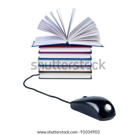 Computer mouse and stack of books isolated on white background. - stock photo