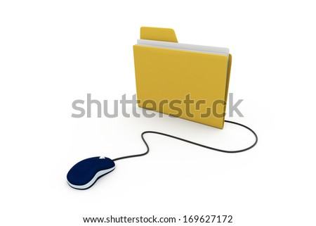 Computer mouse and yellow folder. 3D illustration isolated on white - stock photo
