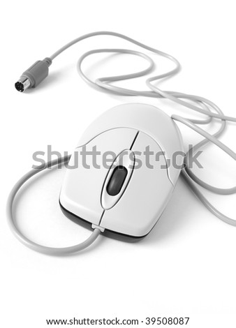 computer mouse closeup in black and white