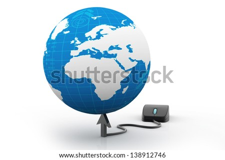 computer mouse connected to a  globe - stock photo