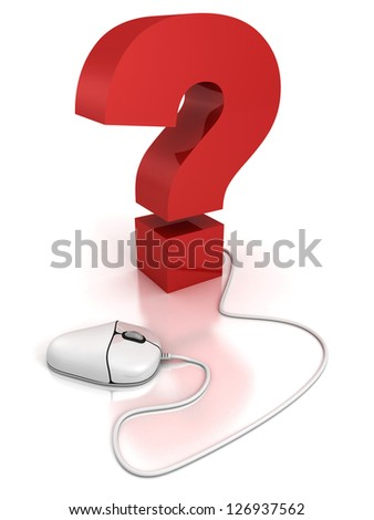 computer mouse connected to a question mark. FAQ concept - stock photo