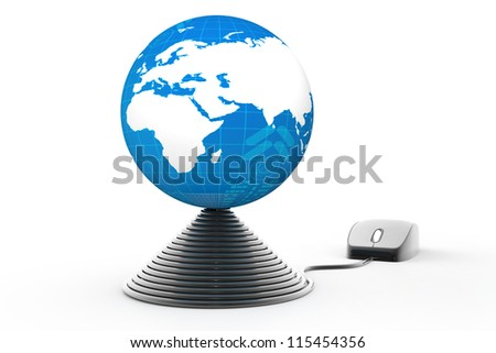 computer mouse connected to glossy globe - stock photo