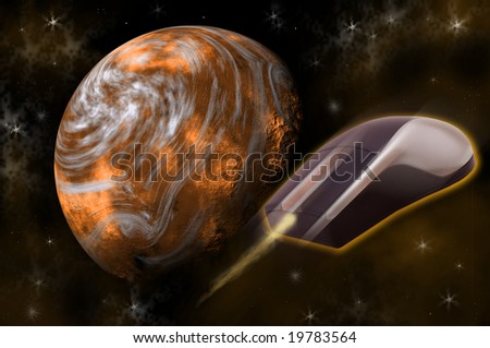 Computer mouse in space