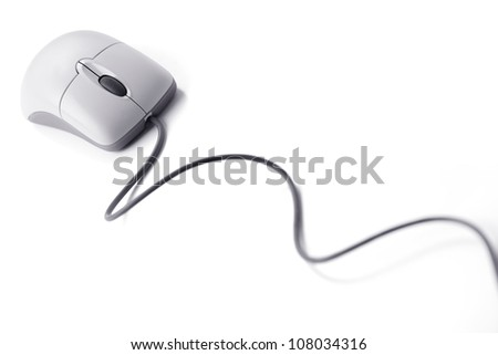 Computer mouse on a long wire on  white background - stock photo