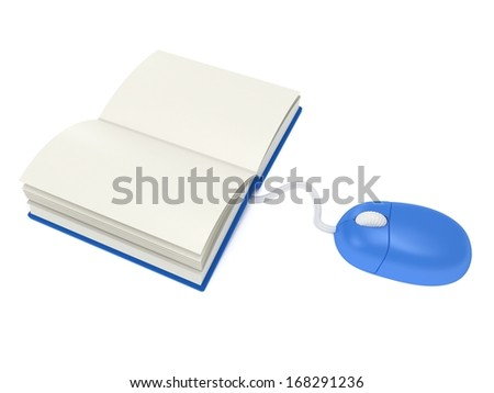 Computer mouse with book isolated on white. 3D render. Cursor, internet, education concept. - stock photo