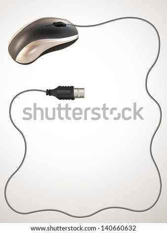 Computer mouse with cable and input usb.Rasterized illustration. Vector version in my portfolio