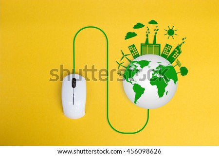 Computer mouse with Eco friendly concept, Click for Green city save the world - stock photo