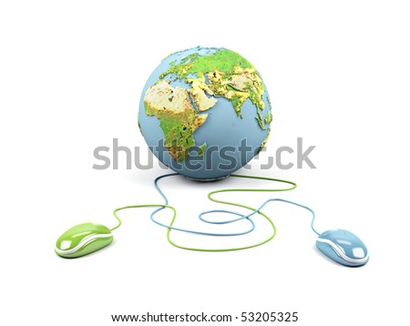 Computer mouses connected to a globe. - stock photo