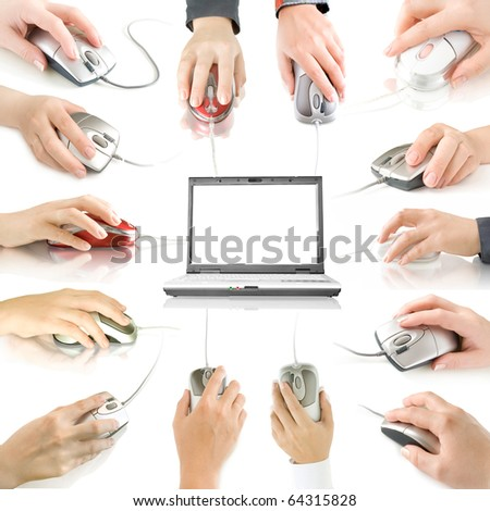 computer mouses in hand collection isolated on white and laptop with reflection - stock photo