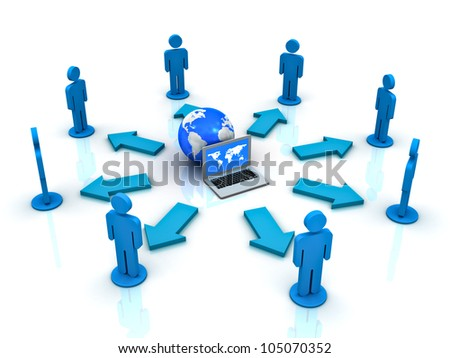 Computer network and sharing concept on white background with reflection - stock photo