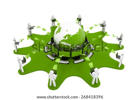 Computer network with data sharing - stock photo