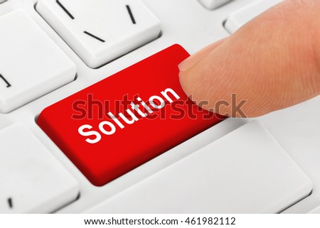 Computer notebook keyboard with Solutions key - technology background