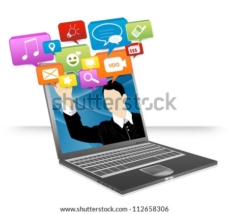 Computer Notebook With Businessman Pointing to Colorful Social Network Icon Isolate on White Background For Online and Internet Social Network Concept - stock photo