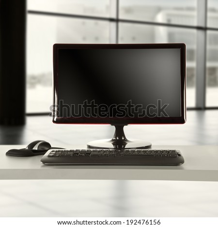 computer of black  - stock photo