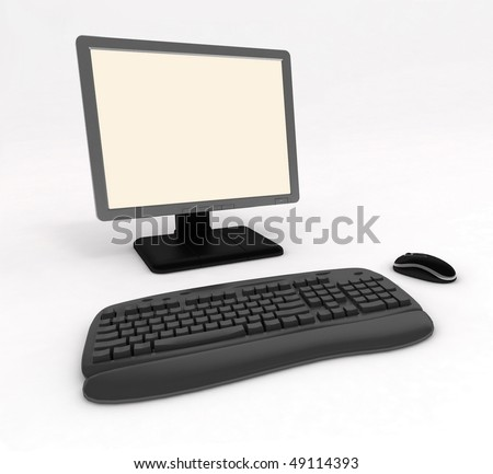 Computer on a white background