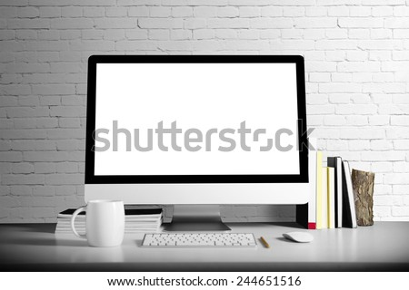 Computer on table. 3D rendering. - stock photo