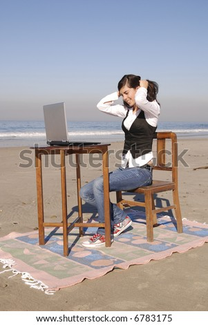 Computer on the beach