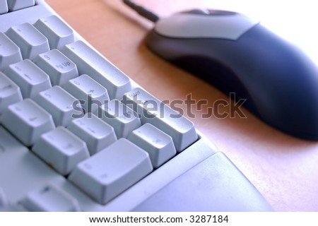Computer parts close-up. Keyboard and mouse - stock photo