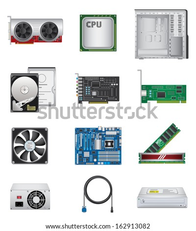 Computer parts icon set - stock photo
