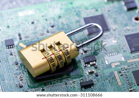 Computer, password & virus security protection from hacking - stock photo