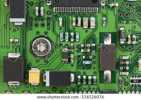 Computer PCB with electronic components - stock photo