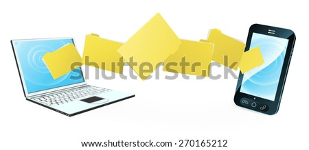 Computer phone file transfer concept of files or folders moving between a laptop computer and mobile phone  - stock photo