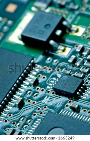 Computer plate background-the container of a hard disk on closer examination - stock photo